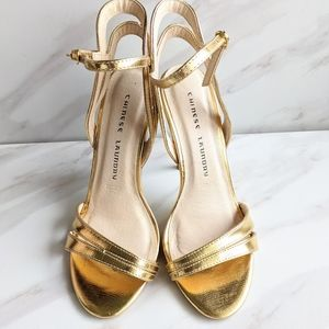CHINESE LAUNDRY Metallic Gold Lillian Sandal Heels
